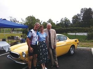 Ed (left) with parents at a Volvo-sponsored cycling event.
